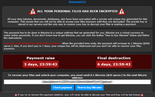 Payment deadline and directions displayed by Ransom32