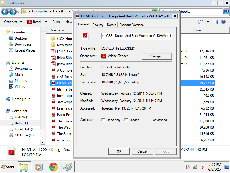 Modify dates Title: Files get encrypted and appended with .locked suffix