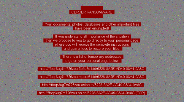 Desktop background set by Cerber ransomware version 6