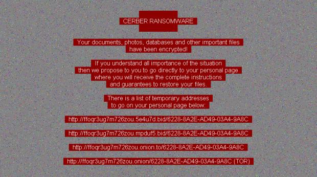 Desktop background set by Cerber ransomware version 6
