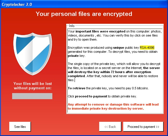 Cryptolocker user interface with ransom demands