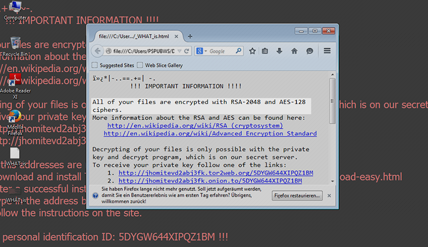 """RSA-2048/AES-128 virus: """"All of your files are encrypted"""