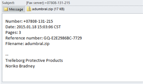 Contents of a phishing email involved in CTB Locker circulation