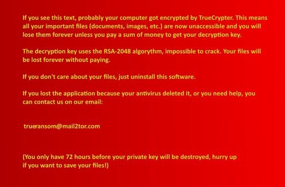TrueCrypter desktop wallpaper with instructions