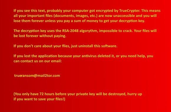 TrueCrypter desktop wallpaper with instructions