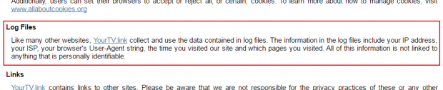 Excerpt from YourTV.link Privacy Policy