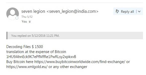 Email reply from the extortionists