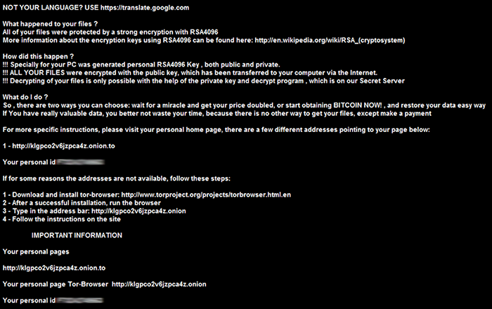 TXT version of CryptXXX ransom notes