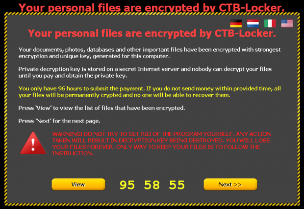 CTB-Locker warning message in the desktop background