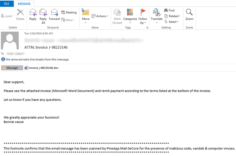 Example of phishing email with Docm file on board