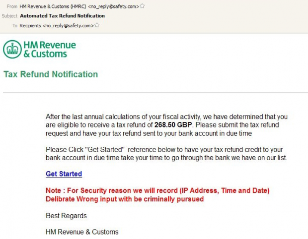 Example of a phishing email disguised as HMRC tax refund notification