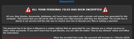 Decrypt Ransom32: NW.js javascript ransomware removal
