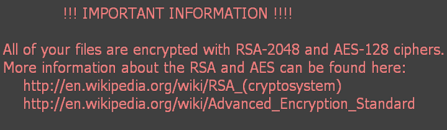 "RSA-2048/AES-128 virus: ""All of your files are encrypted with RSA-2048 and AES-128 ciphers"""