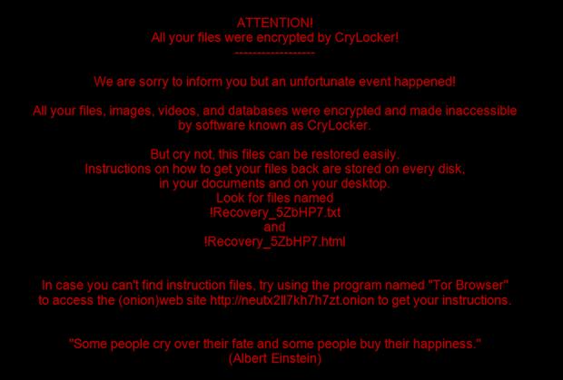 CryLocker desktop wallpaper