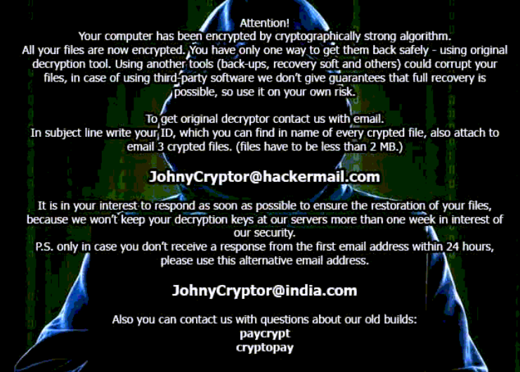 JohnyCryptor desktop background with decryption tips