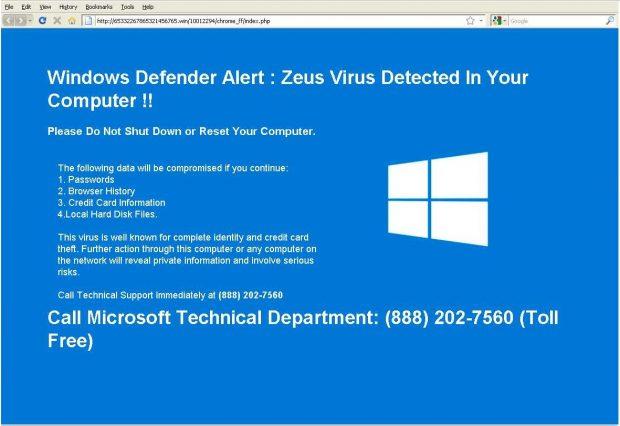 Windows Defender Alert: Zeus Virus detected