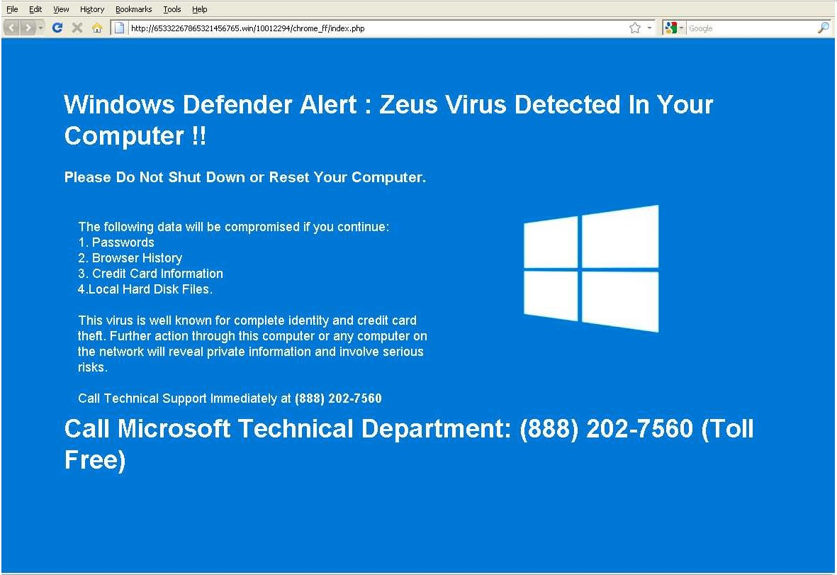 Windows Defender Alert: Zeus Virus Detected in Your Computer !!