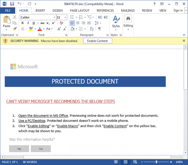 Cerber 4.1.5 devs exploit MS Word macros to install the ransomware