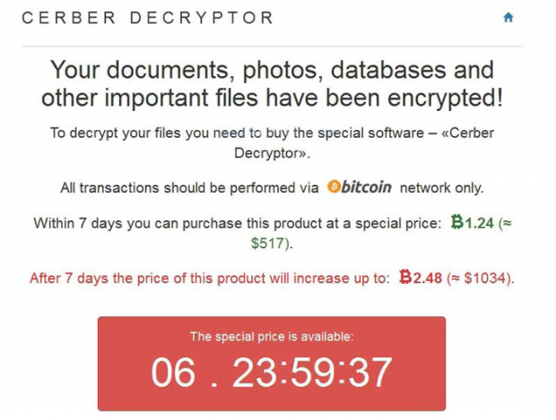Information displayed on the Cerber Decryptor page