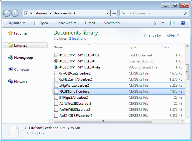 Cerber version 2 switched to a new file extension