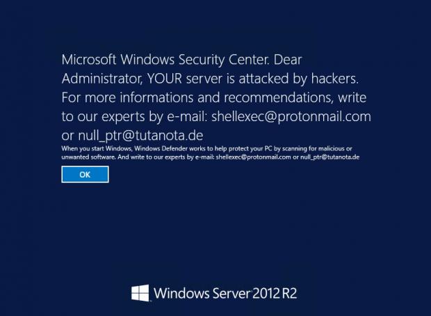DXXD virus warning on the Windows Server login screen