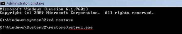 Type rstrui.exe command
