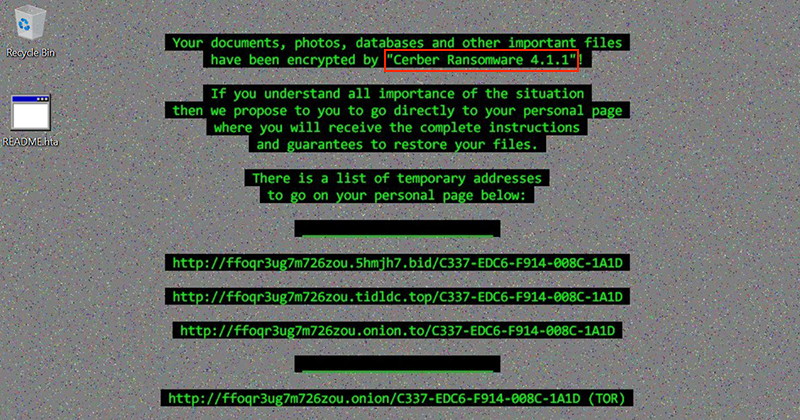 Cerber Ransomware 4.1.1 desktop warning now contains the version number