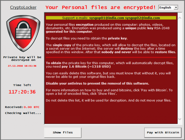 CryptoLocker (sysgop01@india.com) main pane