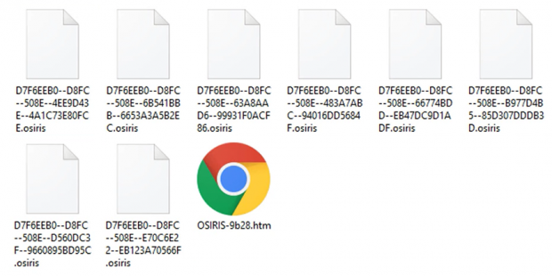 Ransom note and encrypted .osiris files in a folder