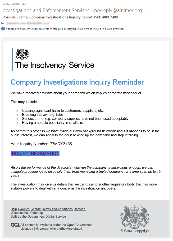 The Insolvency Service scam: fake Company Investigations Inquiry Reminder
