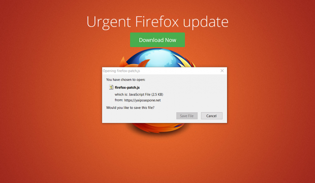 Rogue Firefox update page pushing firefox-patch.js file