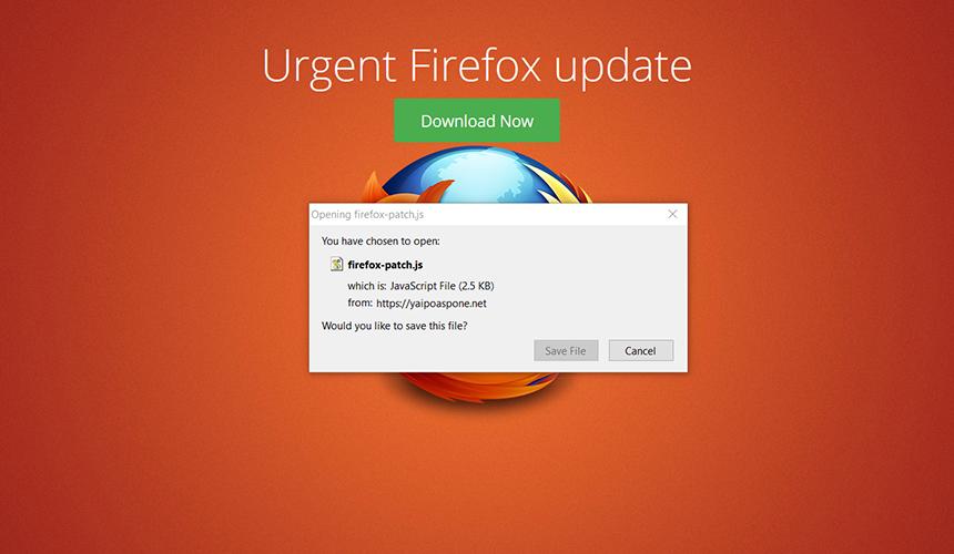 Rogue Firefox update page pushing firefox-patch.js file
