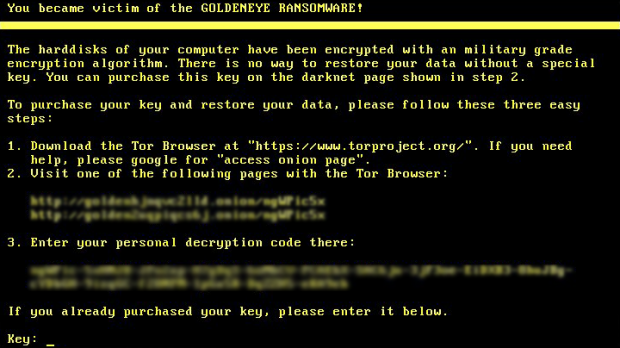 Goldeneye ransomware lock screen