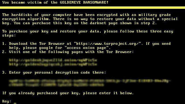 Goldeneye ransomware lock screen
