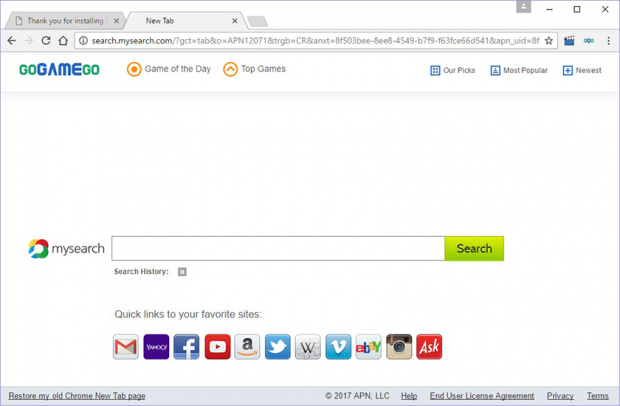 GoGameGo toolbar tweaking browser settings