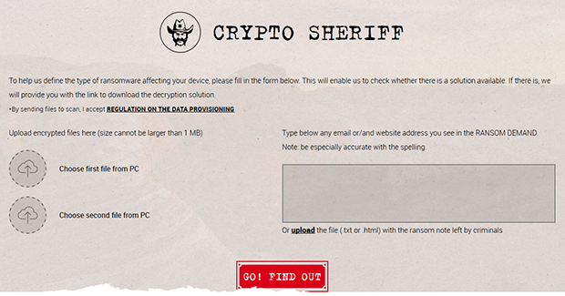 Crypto Sheriff homepage