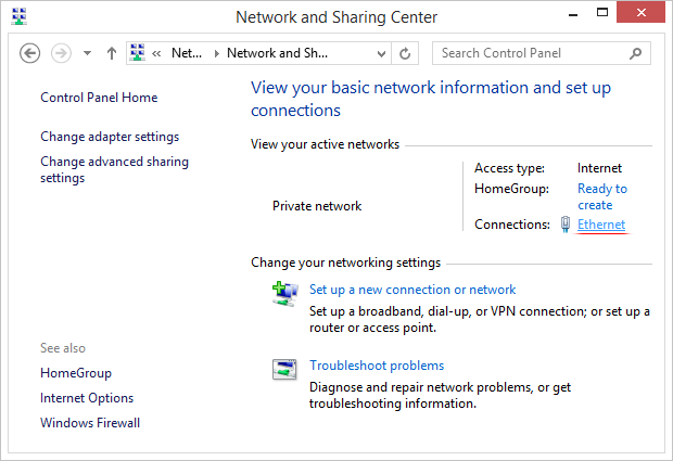 Select current Local Area Connection