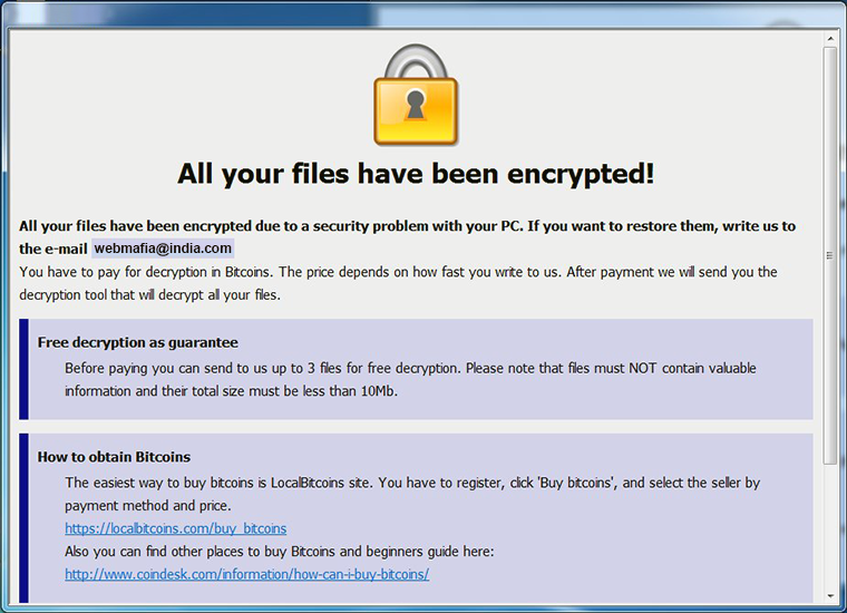 Info.hta ransom note added by the .[webmafia@asia.com].wallet file virus