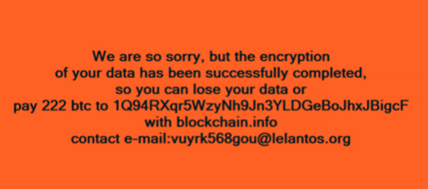 Ransom warning displayed by KillDisk virus
