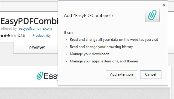 Permissions required by EasyPDFCombine