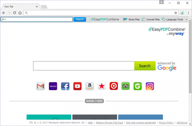 EasyPDFCombine New Tab hijacker in action