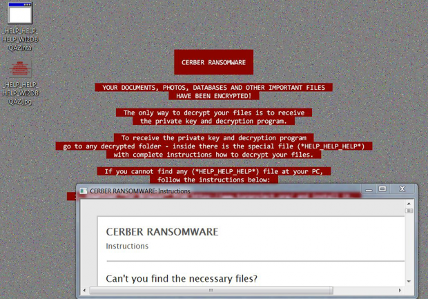 The new design of Cerber desktop warning and modified ransom notes