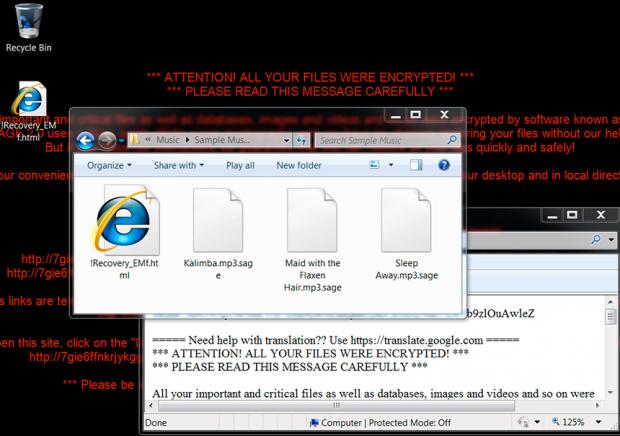 Sage 2.0 ransomware symptoms