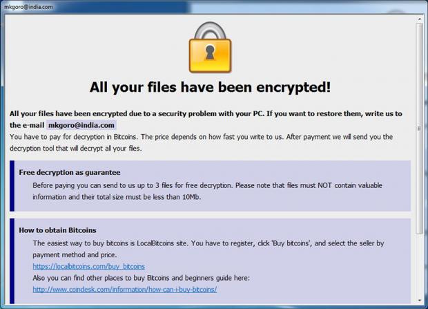Cesar ransomware Info.hta rescue note