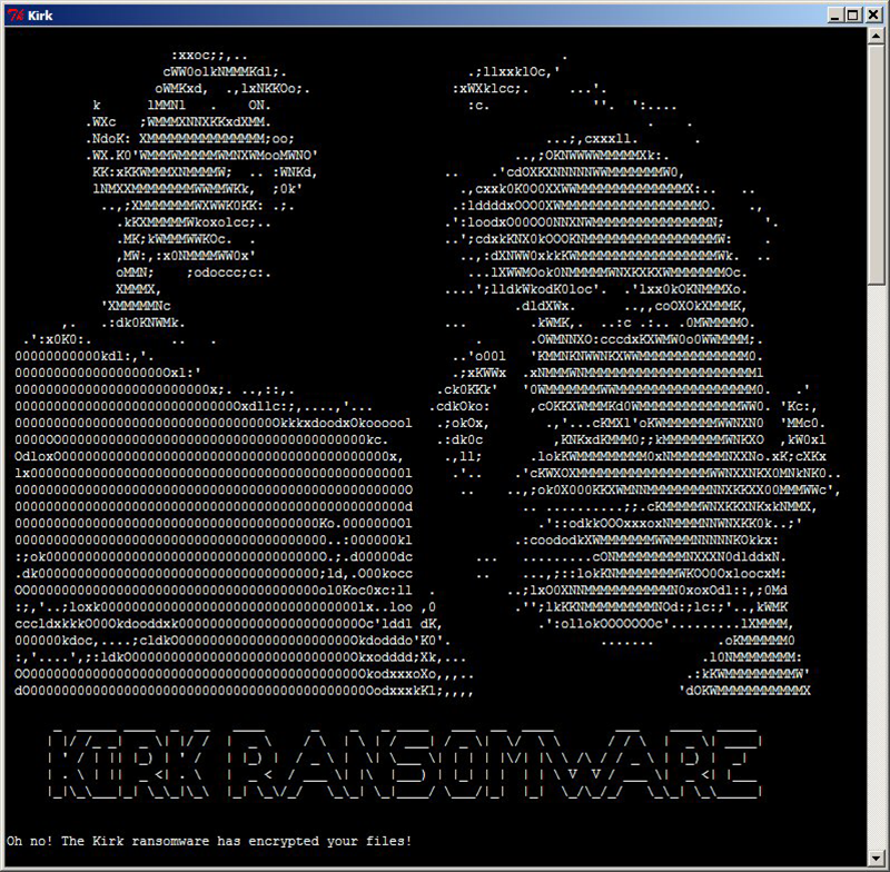 Kirk ransomware warning window