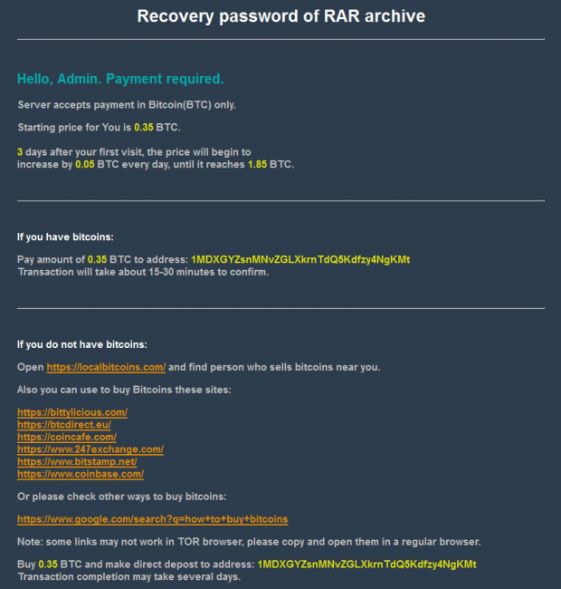 Roshalock 2.00 ransom payment page