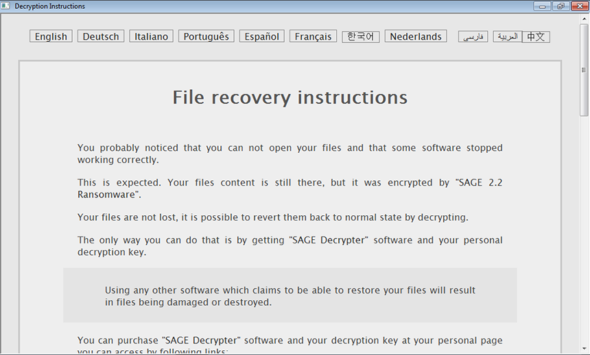 !HELP_SOS.hta Decryption Instructions window