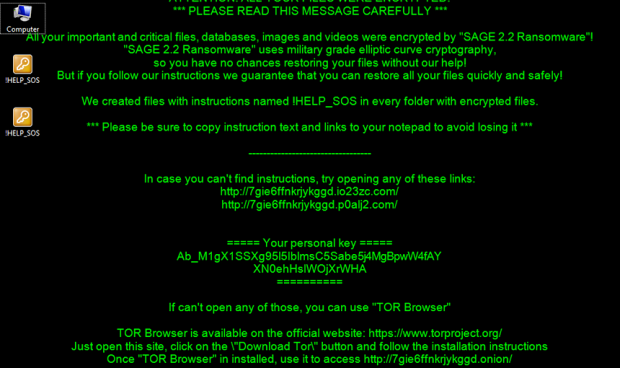 Desktop background changed as part of SAGE 2.2 ransomware attack