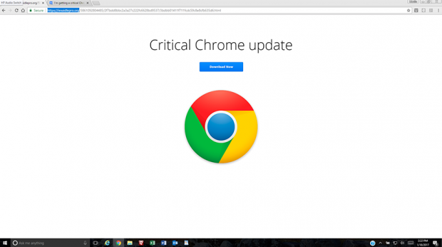 Page displaying fake Critical Chrome Update recommendation