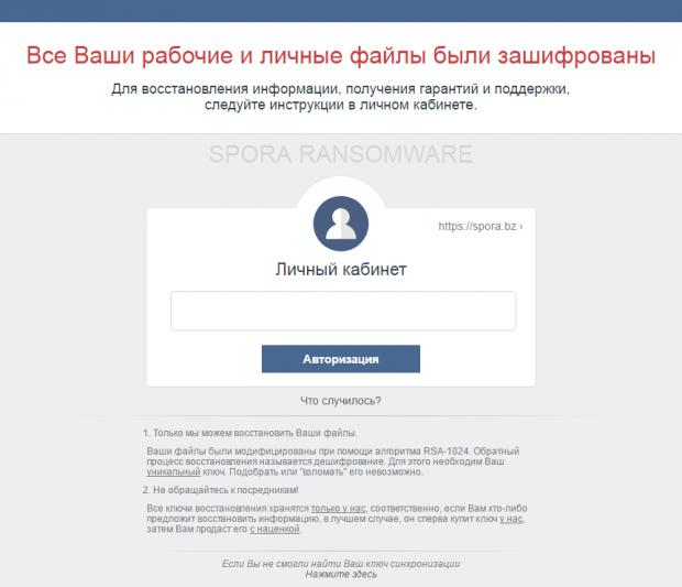 HTML ransom note by Spora version 1